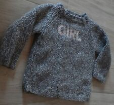 6217 – Pull bleu chiné 6 ans fait main « GIRL » idéal hiver
