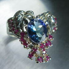 1.65ct Natural Tanzanite & rubies 925 Sterling silver art nouveau ring