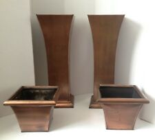 Two 4 Piece Beautiful Antique Vintage Rustic Copper Metal Pedestal Planters