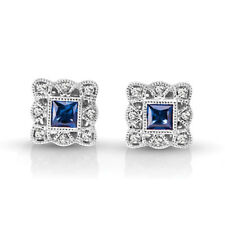 1.16 Carat Blue Sapphire Diamonds Studs Solid 14K White Gold Gemstone Earrings