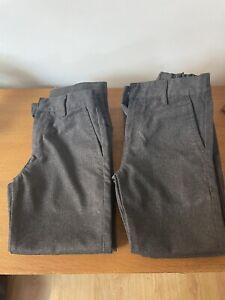 Next Boys Grey School Trousers Age 7 Years Slim Fit X 4