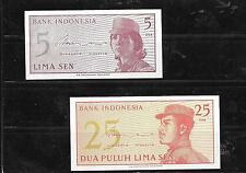 OLD INDONESIA 2 DIFF UNCIRCULATED BANKNOTE PAPER MONEY NOTE LOT SET COLLECTION