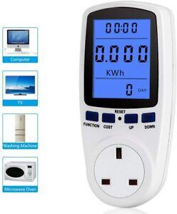 UK Plug in Electricity Power Consumption Meter Energy Monitor Watt Kwh Analyzer