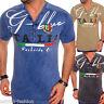 Uomo T-Shirt Abbigliamento da Discoteca Shirts Scollo a V Slim-Fit Italia Nuovo