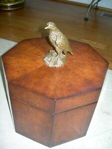 Jonathan Charles Burl Walnut Octagonal Keepsake Box W/ Antique Brass Bird Accent