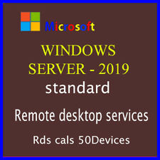 Windows Server 2019 standard, 50  Devices Rds Cals, genuine license and instnant