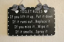 Decorative Handcrafted TOILET RULES bathroom Wooden Sign/Plaque (White on Black)