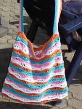 Häkel-Beutel, farbenfrohes Design, Unikat in türkis-orange-weiß,
