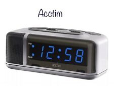 Acctim Excelsior Blue LED Mains Electric Bold Bedside Alarm Clock 15077 New