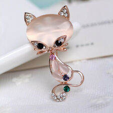 Gold Filled Opal Stone Fox Brooch Women Crystal Rhinestone Animal Pin Jewelry S