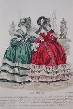 GRAVURE COULEURS LA MODE 1840-OLD FASHION PRINT XIXe SIECLE COSTUME MD48