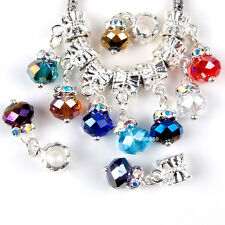 Wholesale 100PCS Dangle Faceted Glass Crystal Charms Beads Fit European Bracelet
