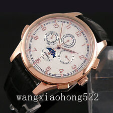 44mm Parnis white Dial portugess Automatic mechanical gold plated men watch 256A