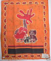 Superbe tenture indienne BATIK famille elephant COMMERCE EQUITABLE 50 x 40cm