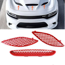 Fit For Dodge Charger SRT Hellcat 2015-2020 Red Trim Hood Bezels Mopar Grille