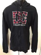 Mens DC Black/Red Plaid Full Zip Hooded Sweatshirt Size XXL