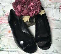 Cole Haan NikeAir Women Size 7 Black Peep Toe Patent Leather Slip on Heels