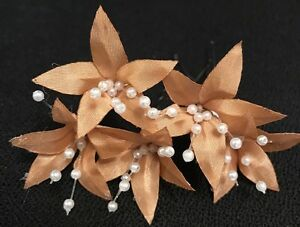 5 Wedding Prom  Small Shiny Gold- Brown Lily Flower Hair Pins Clips handmade