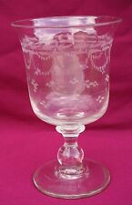 "Large 7"" French Chalice Wedding Class Engraved Clear Crystal 19th C"