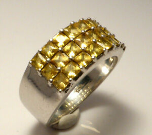 Fine Chunky Sterling Silver & Yellow Topaz Dress Ring UK Size O 5.7g