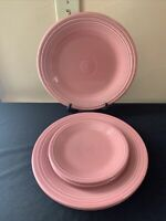 LOT OF 5-Pcs 1996 Homer Laughlin Fiesta ROSE 3-Dinner & 2-Salad Plates