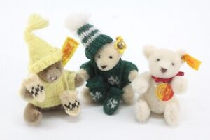 "Lot of 3 STEIFF 3"" miniature teddy bears mini sweater hat gloves wool cotton"