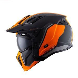 Black Orange Gemni Modular Convertable Matt Full Face Safety Helmet ECE Standard
