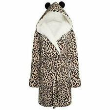 Ladies Soft Fleece Leopard Print Hooded Dressing Gown  XS,S,M,L,XL