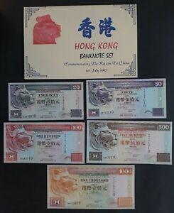 RARE 1997 Hong Kong Re-Unification with China set of 5 Banknotes in Folder