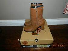 WOMENS HARLEY DAVIDSON ANKLE BOOTS SIDE ZIP CARAMEL BROWN LEATHER SHOES SIZE 6.5
