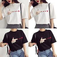 Fashion Women Girl Korean Summer Heart print casual T-shirt short sleeve Blouse