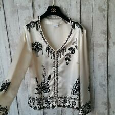 Womens Cream Satin Embellished Blazer Jacket Size 14 Black Floral Race Weeding