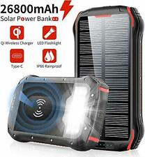 Slols 26800mAH Portable Power Bank Phone Charger Qi Wireless Rainproof New Solar