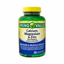 Spring Valley Calcium Magnesium & Zinc Bone & Muscle Health 250 Coated Caplets