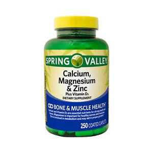 Spring Valley Calcium Magnesium & Zinc Bone & Muscle Health 250 Coated Caplets