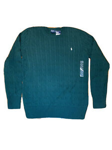 NEW Ralph Lauren Polo Big Boys green Cable Knit Sweater Size XL(18-20) $55