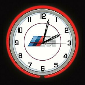 "19"" BMW M Series Sign Red Neon Clock Chrome Case Bavarian Motor Works Man Cave"