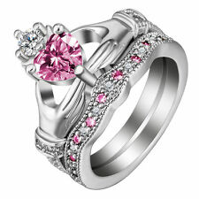 Women 925 Silver Heart Cut Pink Sapphire Claddagh Ring Set Wedding Jewelry Sz 8