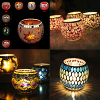 Handmade Mosaic Glass Candlestick Candle Holders Wedding Party Decor Ornaments