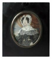 Antique French c.1830s Portrait Miniature, Woman in Lace, Posed like Mona Lisa