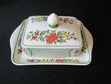 Villeroy & Boch Mettlach Summerday Covered Lidded Butter Dish Tab Handled Floral