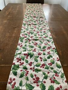 Christmas Table Runner Holly Leaves and Berries in Emma Bridgewater Cotton Fabri