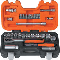 "BAHCO S330 34 Piece 3/8"" Metric AF Socket Set & Ratchet + 1/4"" Screwdriver Bits"