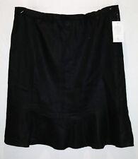 BIB Brand Black Elastic Waist Frill Bottom Linen Skirt Size 22 BNWT #TP13