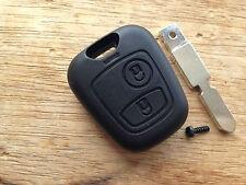Peugeot & Citroen 2 botón remoto fob clave Funda 206 307 306 307 con Sin Cortar Blade