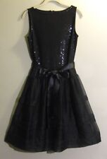 ST JOHN Paillettes Belted Black Dress 4 Made in USA