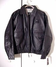 Vtg Black Leather Burks Bay Map Lined A-2 Bomber Jacket Sz XL /2XL Frito Lay NWT