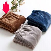 Men's Warm Soft Thermal Plush Fleece Long Trousers Lounge Sleep Pajama Bottoms