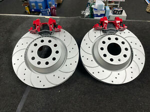 FOR VW GOLF R MK7 AUDI S3 RS3 LEON CUPRA REAR GROOVED BRAKE DISCS PADS CALIPERS