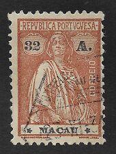 MACAU;  1923-1924 Ceres 132A Reddish Orange/Black Used (BX)
